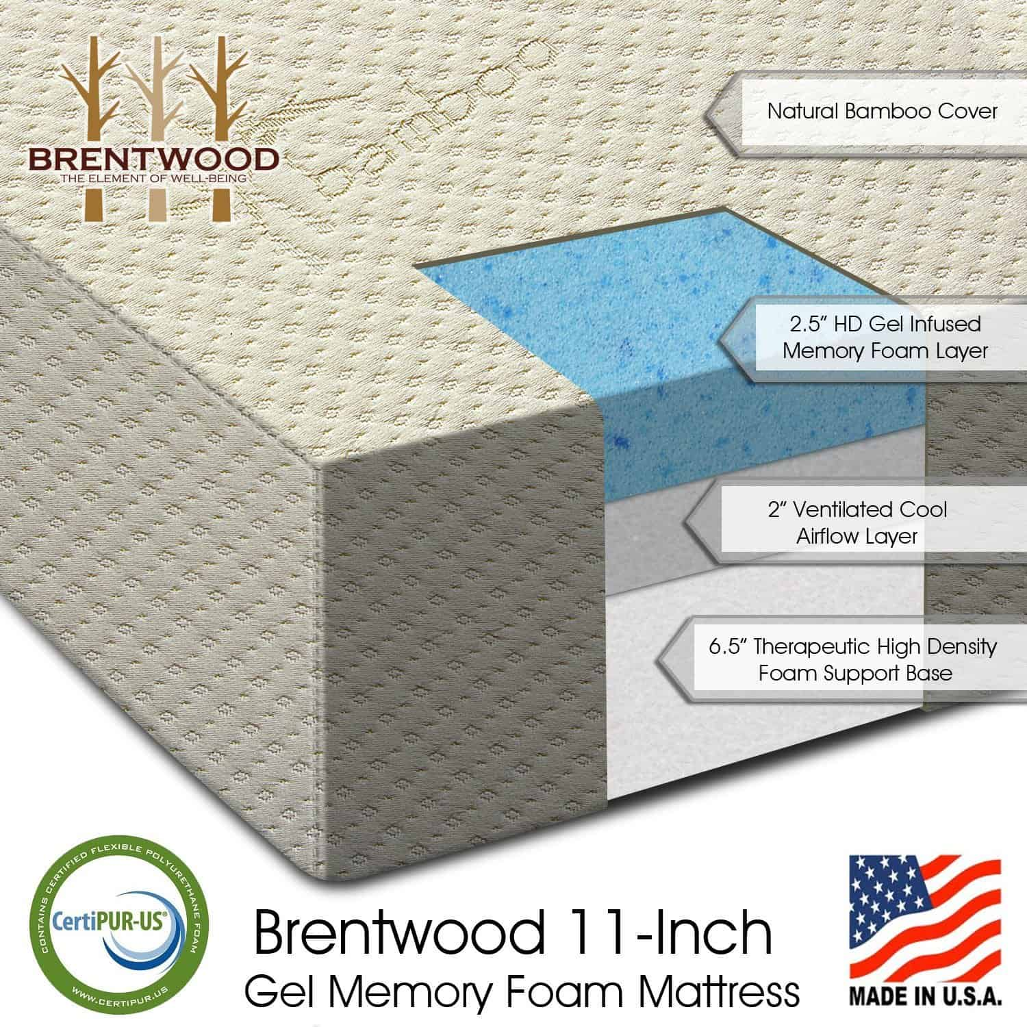 "Brentwood 11"" Gel Infused HD Memory Foam Mattress"