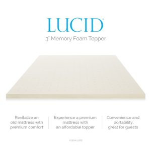 LUCID 3 inch memory foam mattress topper